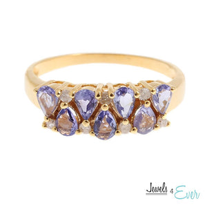 10KT Yellow Gold Ring set with 4 x 2.5 mm Genuine Tanzanite and Diamond