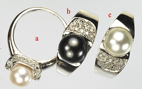14KT White Gold Ring Set With Genuine South Sea Pearl / Tahitian Pearl