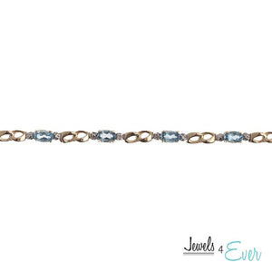 10KT Yellow Gold 5 x 3mm Genuine Gemstone and Diamond Bracelet