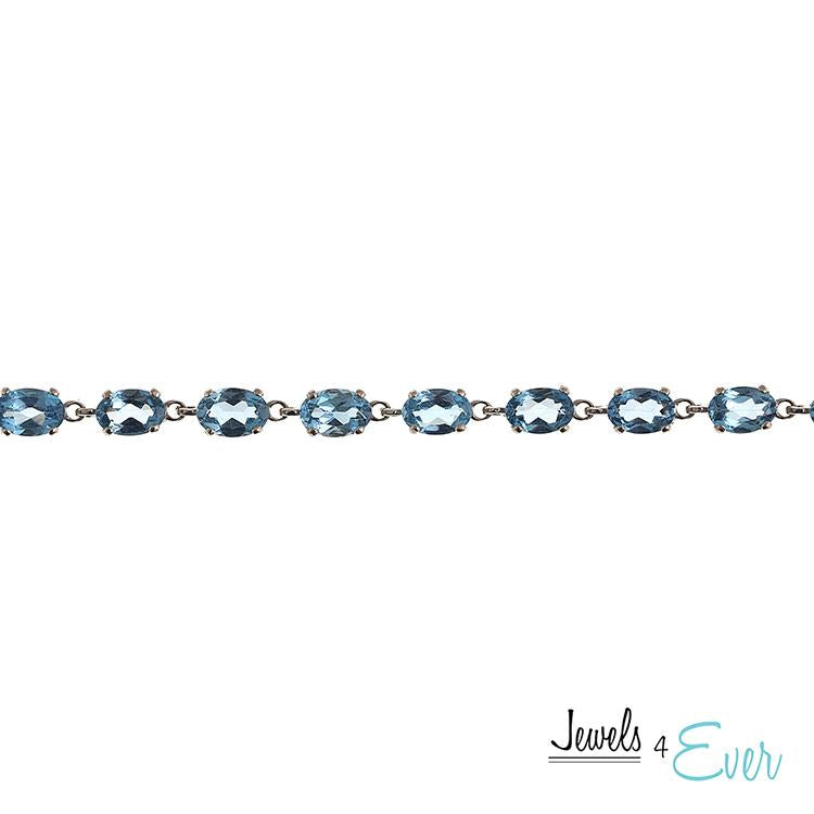 10KT White Gold 6 x 4mm Genuine Gemstone Bracelet
