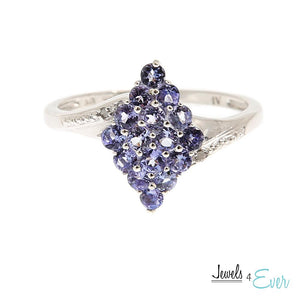 Sterling Silver Ring set with 2.5 mm Genuine Tanzanite