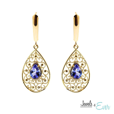 10KT Gold Genuine Tanzanite Filigree Earrings