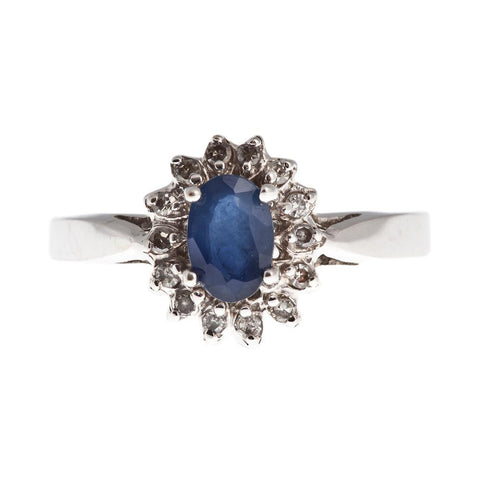14KT White Gold Lady Di Style Ring set with Genuine Gemstone and Diamond