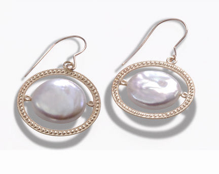 14KT Gold Coin Pearl Earrings & Pendant