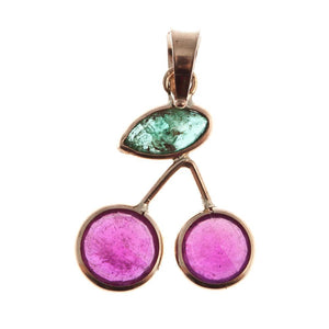 14KT Yellow Gold Ruby and Emerald Cherry Design Pendant