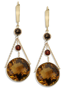 14KT Yellow Gold Beer Quartz & Garnet Drop Earrings