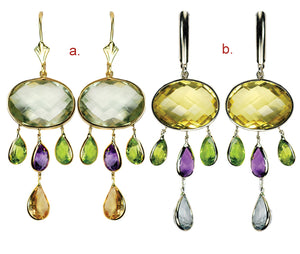 14kt White/Yellow Genuine Multi-Coloured Gemstone Chandelier Earrings. Set with Over 20 Carats of Gemstones