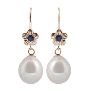 14KT Yellow Gold Genuine Fresh Water Pearl and Sapphire Lever-back Earrings