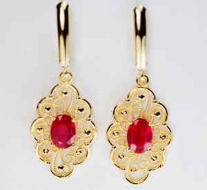 14KT Gold 2 Carats Genuine Gemstone Earrings