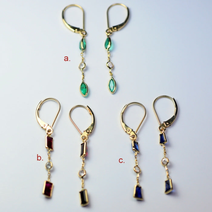14KT White/Yellow Gold Genuine Gemstone Dangle Earrings