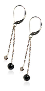 14KT White/Yellow Gold White & Black Diamond Dangle Earrings