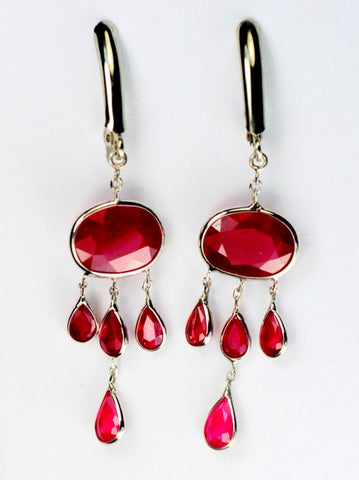 14KT Gold Ruby Chandelier Earrings