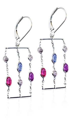 14KT White/Yellow Gold Genuine Multi-color Sapphire Earrings