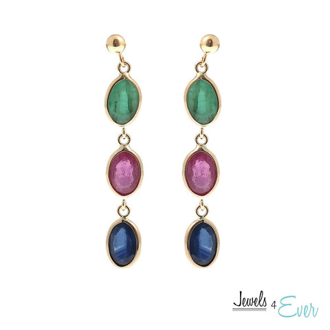 14KT Yellow Gold Earrings set with 7 x 5 mm Genuine Ruby, Sapphire and Emerald