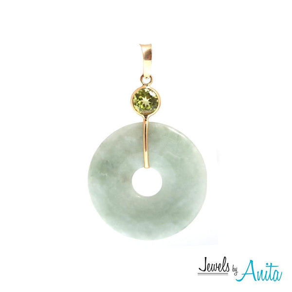 14KT Yellow Gold Jade Disc Pendant with Genuine Gemstones