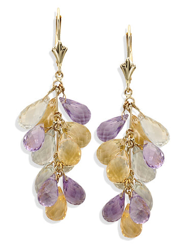 14KT White/Yellow Gold Genuine Gemstone Earrings Set With 40 Carats of Amethyst, Green Amethyst, Citrine and Rose Quartz Briolette Stones