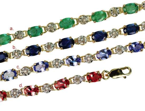 10 Karat Gold Genuine Gemstone Bracelets, 13 (6x4mm) 5-6 Carats & 13 Diamonds 0.06 Carat