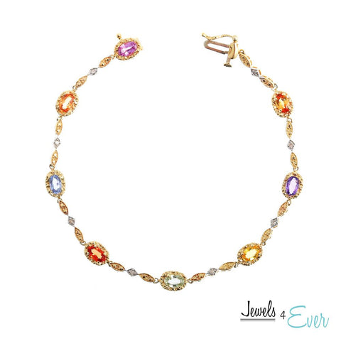 10KT Yellow Gold Bracelet set with 5 x 3 mm Genuine Gemstones and Diamonds