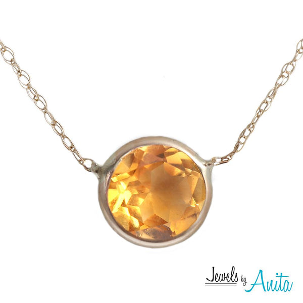 14KT Yellow Gold 6mm Faceted Round Cut Genuine Gemstone Layering Necklace