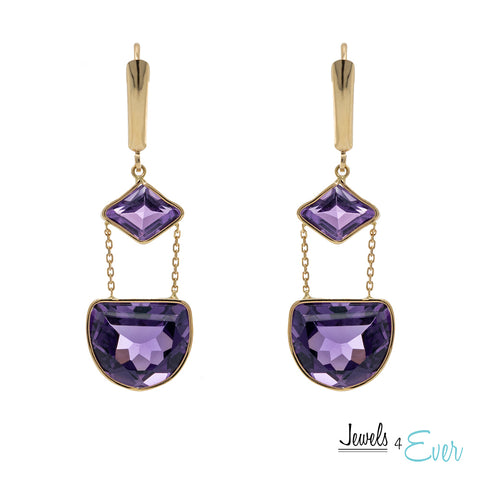14kt. Gold Drop Earrings with Leverback Setting Featuring Genuine Amethyst