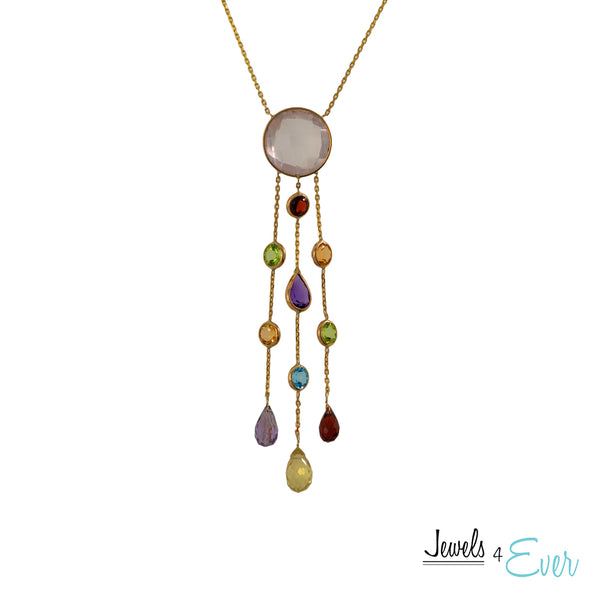 14kt. Gold Necklace with 17 Carats of Genuine Gemstones