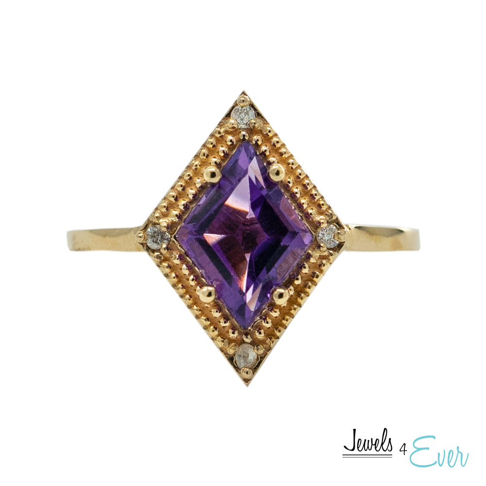 14kt. Gold Ring with Genuine Amethyst and Diamonds