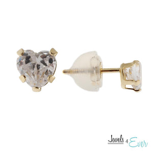 14KT Yellow Gold 4 mm Cubic Zirconia Heart Stud Earrings