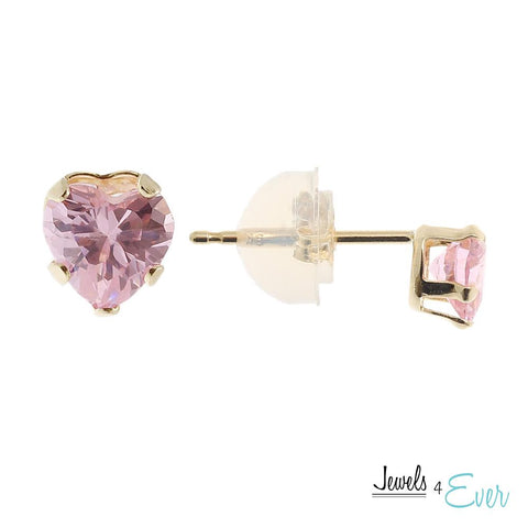 9KT Yellow Gold 4 mm Pink Cubic Zirconia Heart Stud Earrings