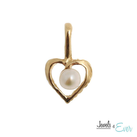 14KT Yellow Gold Heart Pendant set with 2.5 mm Genuine Freshwater Pearl