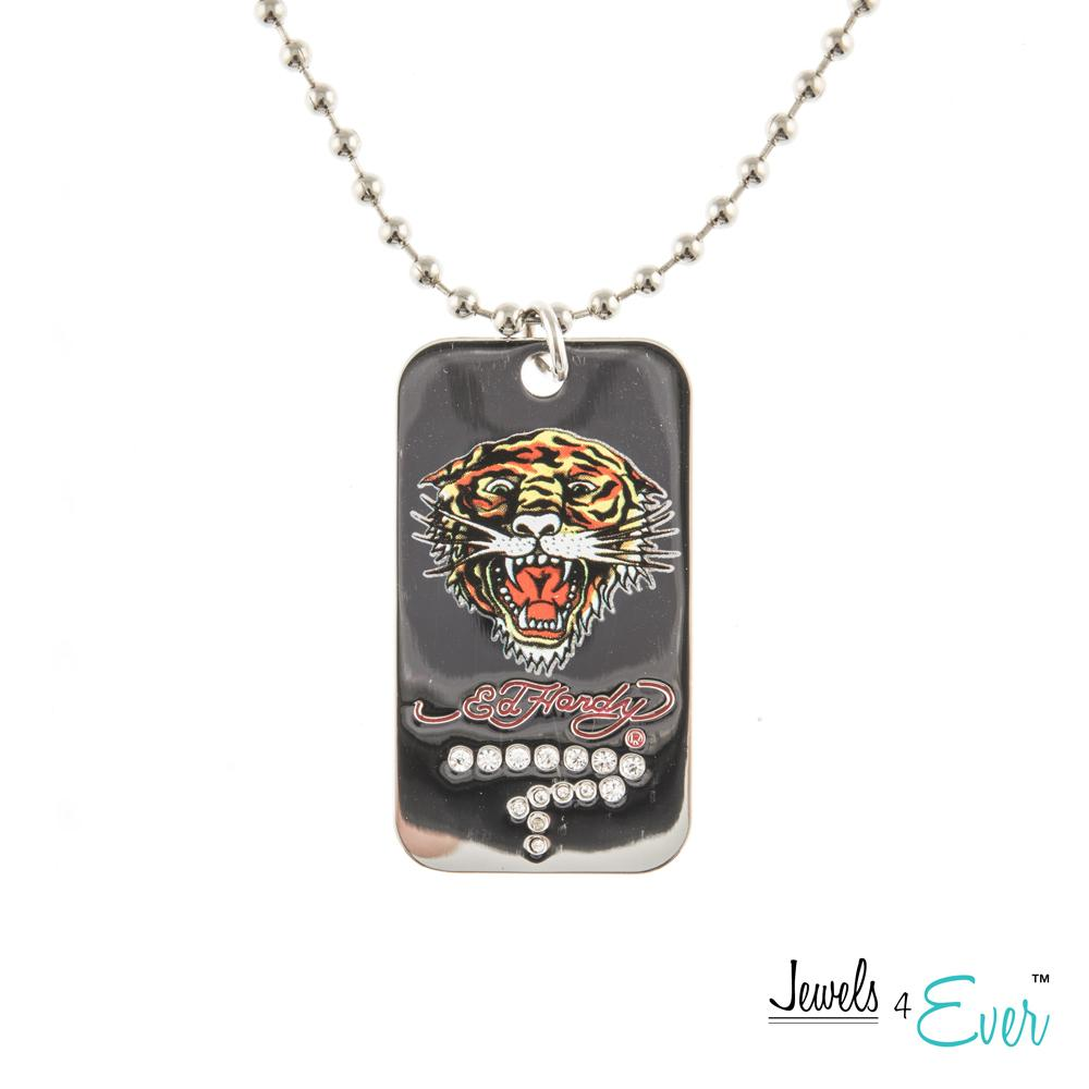 Authentic ED Hardy Roaring Tiger Dog Tag Pendant with 24 inch Bath Tub (Ball) Chain