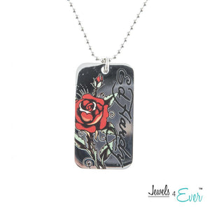 Authentic ED Hardy Red Rose Dog Tag Pendant with 24 inch Bath Tub (Ball) Chain