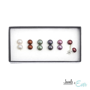 Set of 6 Sterling Silver Coloured Freshwater Pearl Earrings
