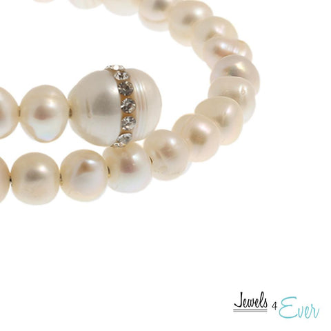White Freshwater Pearl and Crystal Bracelet