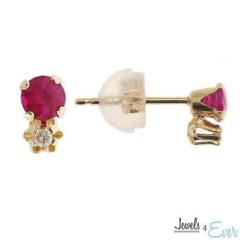 14KT Gold Genuine 3mm Ruby and Diamond Stud Earrings