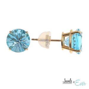 10KT Gold Genuine Blue Topaz Stud Earrings