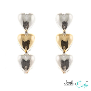 Three Hearted Gold Plated 925 Sterling Silver Jewelry Earrings