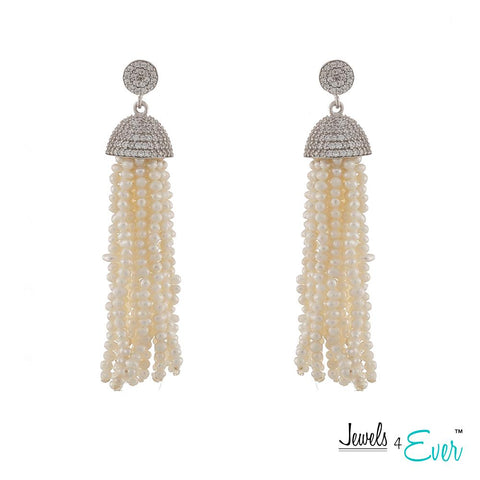 Genuine Fresh Water Pearl Tassel Sterling Silver Earrings