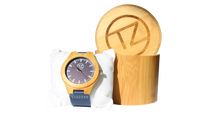 Load image into Gallery viewer, Timez Two | Waterproof Light Bamboo Watch | Blue Leather Band | TZ Lifestyle