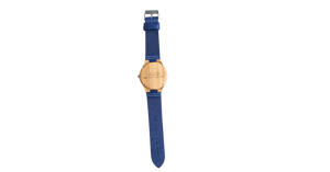 Timez Two | Waterproof Light Bamboo Watch | Blue Leather Band | TZ Lifestyle