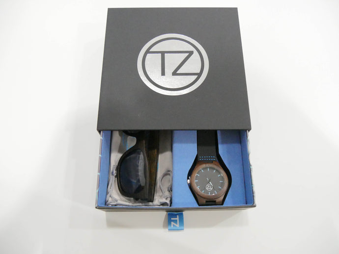 TZ LIFESTYLE | Deep Sea Essentials Pack | Black Floating Bamboo Sunglasses with Black Waterproof Wood Watch