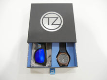 Load image into Gallery viewer, TZ LIFESTYLE | Seaside Essentials Pack | Polarized Blue Floating Bamboo Sunglasses with Black Waterproof Wood Watch