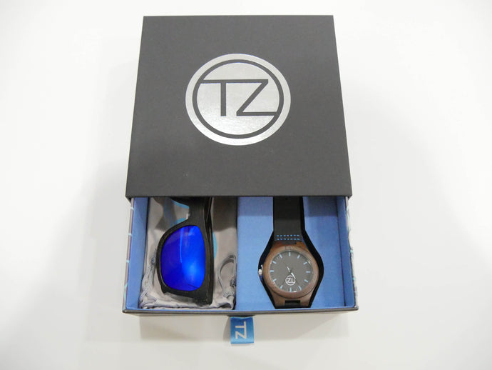 TZ LIFESTYLE | Seaside Essentials Pack | Polarized Blue Floating Bamboo Sunglasses with Black Waterproof Wood Watch