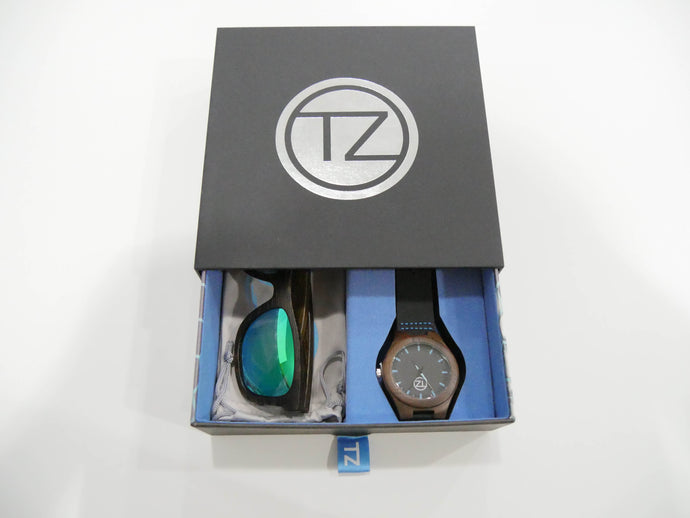 TZ LIFESTYLE | Boardwalk Essentials Pack | Polarized Green Floating Bamboo Sunglasses with Black Waterproof Wood Watch