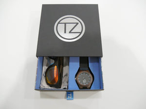 TZ LIFESTYLE | Volcanic Essentials Pack | Polarized Red Floating Bamboo Sunglasses with Black Waterproof Wood Watch