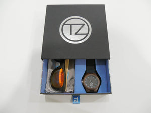 TZ LIFESTYLE | Cali Essentials Pack | Light Red Floating Bamboo Sunglasses with Black Waterproof Wood Watch