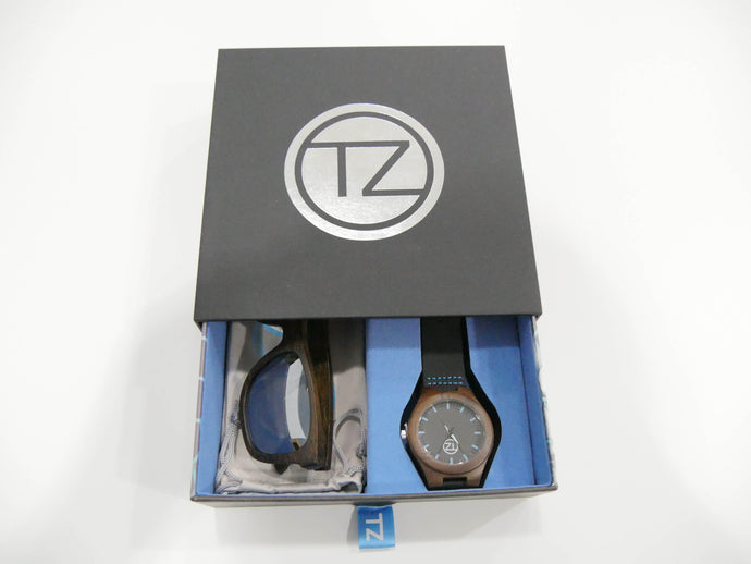 TZ LIFESTYLE| Glacier Essentials Pack | Polarized Mirrored Floating Bamboo Sunglasses with Black Waterproof Wood Watch