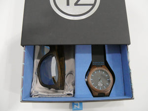 TZ LIFESTYLE | Glacier Essentials Pack | Polarized Mirrored Floating Bamboo Sunglasses with Black Waterproof Wood Watch