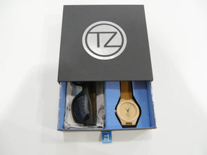 TZ LIFESTYLE | Deep Sea Essentials Pack | Black Floating Bamboo Sunglasses with Tan Waterproof Wood Watch