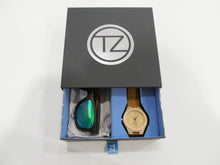 Load image into Gallery viewer, TZ LIFESTYLE | Boardwalk Essentials Pack | Polarized Green Floating Bamboo Sunglasses with Tan Waterproof Wood Watch