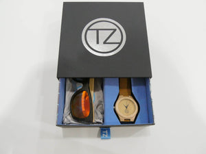 TZ LIFESTYLE | Cali Essentials Pack | Light Red Floating Bamboo Sunglasses with Tan Waterproof Wood Watch